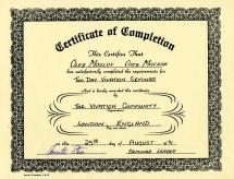 Сертификат от Аннеты Стейн-Вайвешн-1991