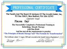 Сертификат от Дэна Бруле -Принципы Дыхательной терапии-Формула для Трансформации-2000