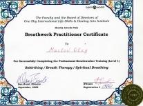 Сертификат от Дэна Бруле -Ребефинг-Дыхательная терапия-Духовное Дыхание-2008