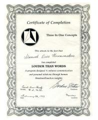 Сертификат от Кэрол Хонс по Прикладной Кинезиологии-курс Три в Одном-ступень Громче слов-1993