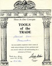 Сертификат от Кэрол Хонс по Прикладной Кинезиологии-курс Три в Одном-ступень Tools of the trade-1992
