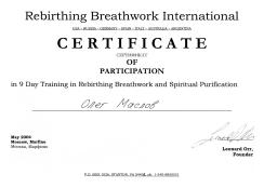 Сертификат от Леонарда Орра-Тренинг по Ребёфингу и Духовному очищению-2004